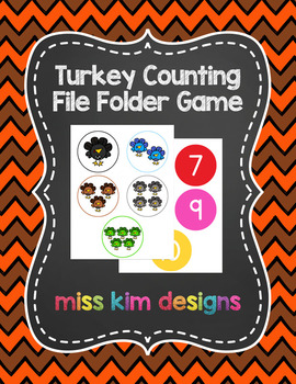 Turkey Counting File Folder Game for students with Autism