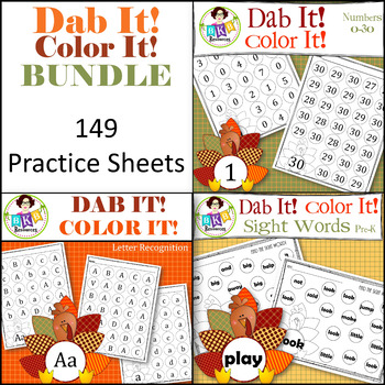 Turkey Dab It! Color It! BUNDLE ● Numbers ● Sight Words ●