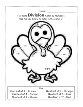 Turkey Division and Subtraction Color by Numbers - FREEBIE!