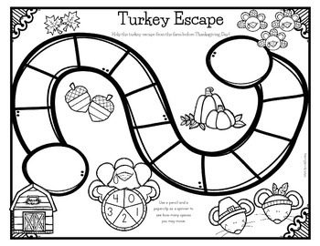 Turkey Escape - Thanksgiving Printable Board Game
