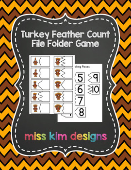Turkey Feather Count File Folder Game for students with Autism