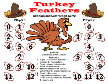 Turkey Feathers - A Thanksgiving Addition and Subtraction Game