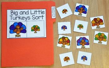 Turkey File Folder Game:  Big and Little Turkeys Sort