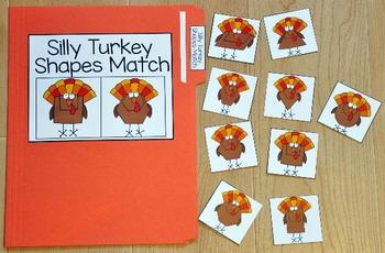 Turkey File Folder Game:  Silly Turkey Shapes Match