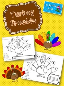 Turkey Freebie - Free Thanksgiving Activity (Pre-K/Kinderg