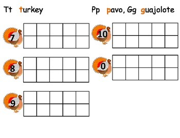 Turkey/Guajolote/Pavo ten frame practice 7-10, and 0.
