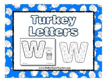 Turkey Letter Coloring Sheets - Thanksgiving, Autumn, Chri