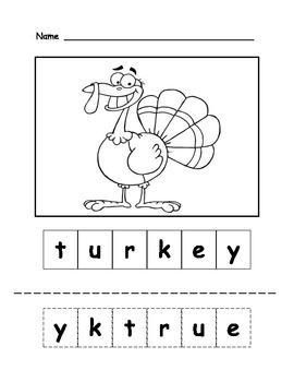 Turkey Letter Scramble
