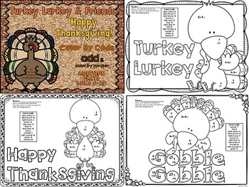Turkey Lurkey and Friends! Thanksgiving color by code colo