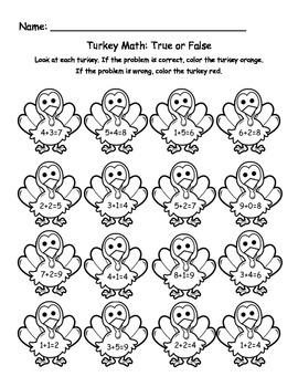 Turkey Math Addition: true or false