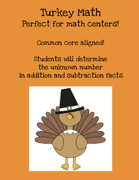 Turkey Math {Determining the unknown number in addition an