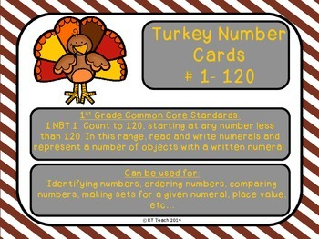 Thanksgiving Turkey Number Cards 1-120