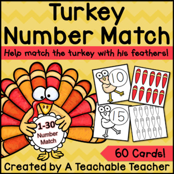 Turkey Math Number Match {1-30}