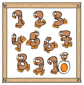 Turkey Numbers Clip Art