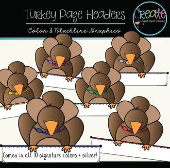 Turkey Page Headers - Digital Clipart
