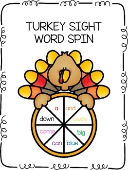 Turkey Sight Word Spin & Color