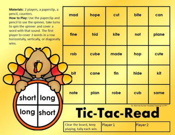 Turkey Silent E Spinner Word Fluency Center Game