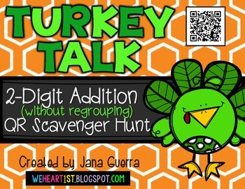 Turkey Talk: 2-Digit Addition (without regrouping) QR Scav
