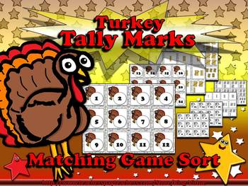 Tally Marks Matching Sort Game - Turkey -Thanksgiving or C