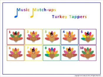 Turkey Tappers, Level 1 - Music Memory Game for Class or Center