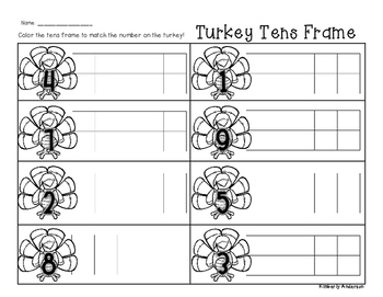 Turkey Tens Frame - Number Sense (1-10)