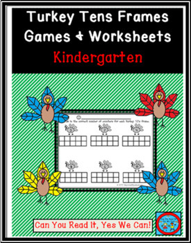 Turkey Tens Frames Games and Worksheet Pack