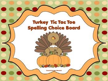 Turkey Tic Tac Toe Spelling Choice Board (Thanksgiving FREEBIE)