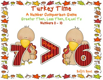 Turkey Time  A Number Comparison Game   Greater Than, Less
