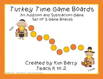 Game Boards - Addition and Subtraction Practice - Turkey T