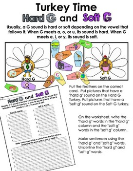Literacy Center - Turkey Time - Hard g and soft g word sort
