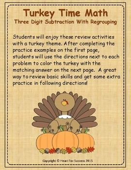 Thanksgiving Turkey Time Math:  Three Digit Subtraction Wi