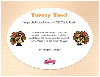 Turkey Time - Single Digit Addition with QR Codes