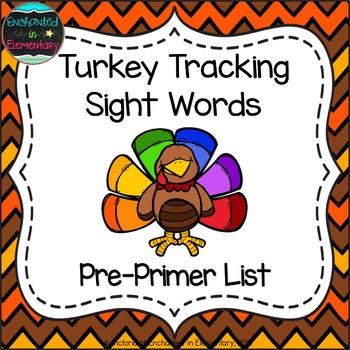 Turkey Tracking Sight Words! Pre-Primer List Pack