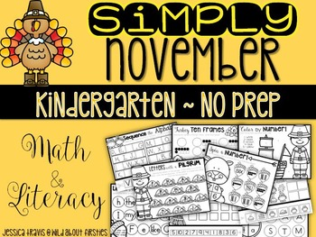 Simply November ~ Kindergarten No-Prep Printables