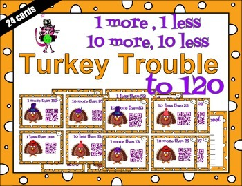 Turkey Trouble QR station - 1 more, 1 less, 10 more, 10 le