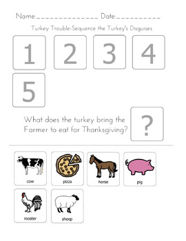 Turkey Trouble-Sequencing and Matching Worksheets
