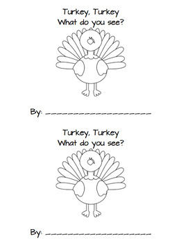 Turkey, Turkey. What Do you See? mini book readers