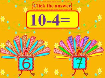 Thanksgiving Math- Turkeys - Addition and Subtraction - In