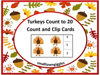Thanksgiving Math Counting & Clip Task Cards Kindergarten