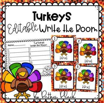 Turkeys~ Editable Write the Room