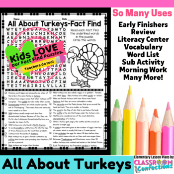 Turkeys: All About Turkeys Reading and Word Search Activity