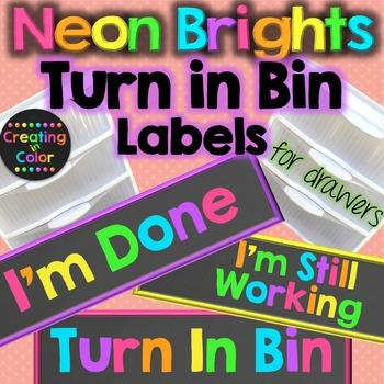 Turn In Bin Drawer Labels - Neon Brights Chalkboard
