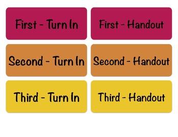 Turn-in Bin Labels, Seventh Period Prep