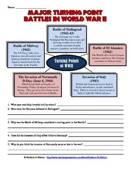 Printables World War Ii Worksheets world war ii turning point battles worksheet by students of worksheet