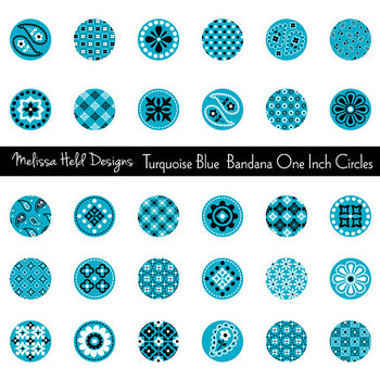 Clipart: Turquoise Bandana Circles Clip Art