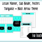 Turquoise & Black Arrow Theme '16-'17: Lesson Binder, Sub