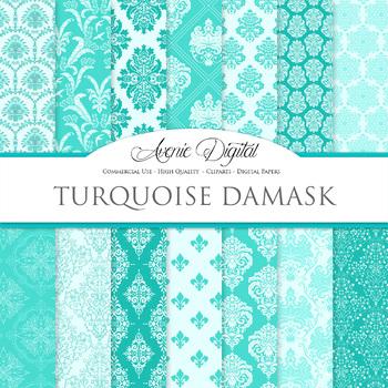 Turquoise Damask Digital Paper patterns ornate blue scrapb