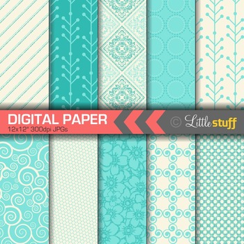 Turquoise Digital Paper, Pretty and Delicate Patterns Paper Pack