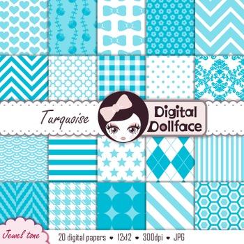 Turquoise Digital Scrapbook Paper, Backgrounds