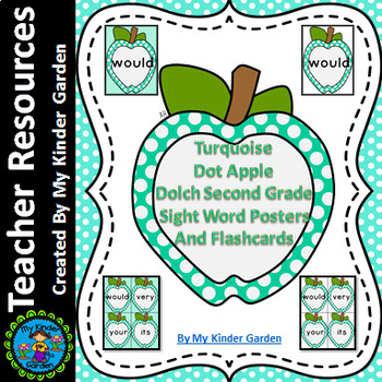 Turquoise Dot Apple Dolch Second Grade Sight Word Flashcar